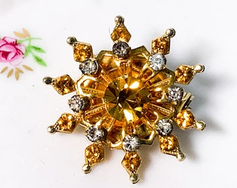 Vintage CORO Costume Brooch Amber & Clear Faceted Glass Pin - Retro w/ Faux Crystal Stones - Gold Tone Metal Mid Century Statement Jewelry