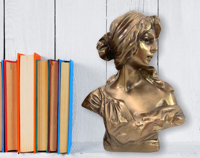 Vintage Chalkware Gold Woman Bust Classical MCM Statue - Vintage Home Decor Female Flowing Garb Mid Century
