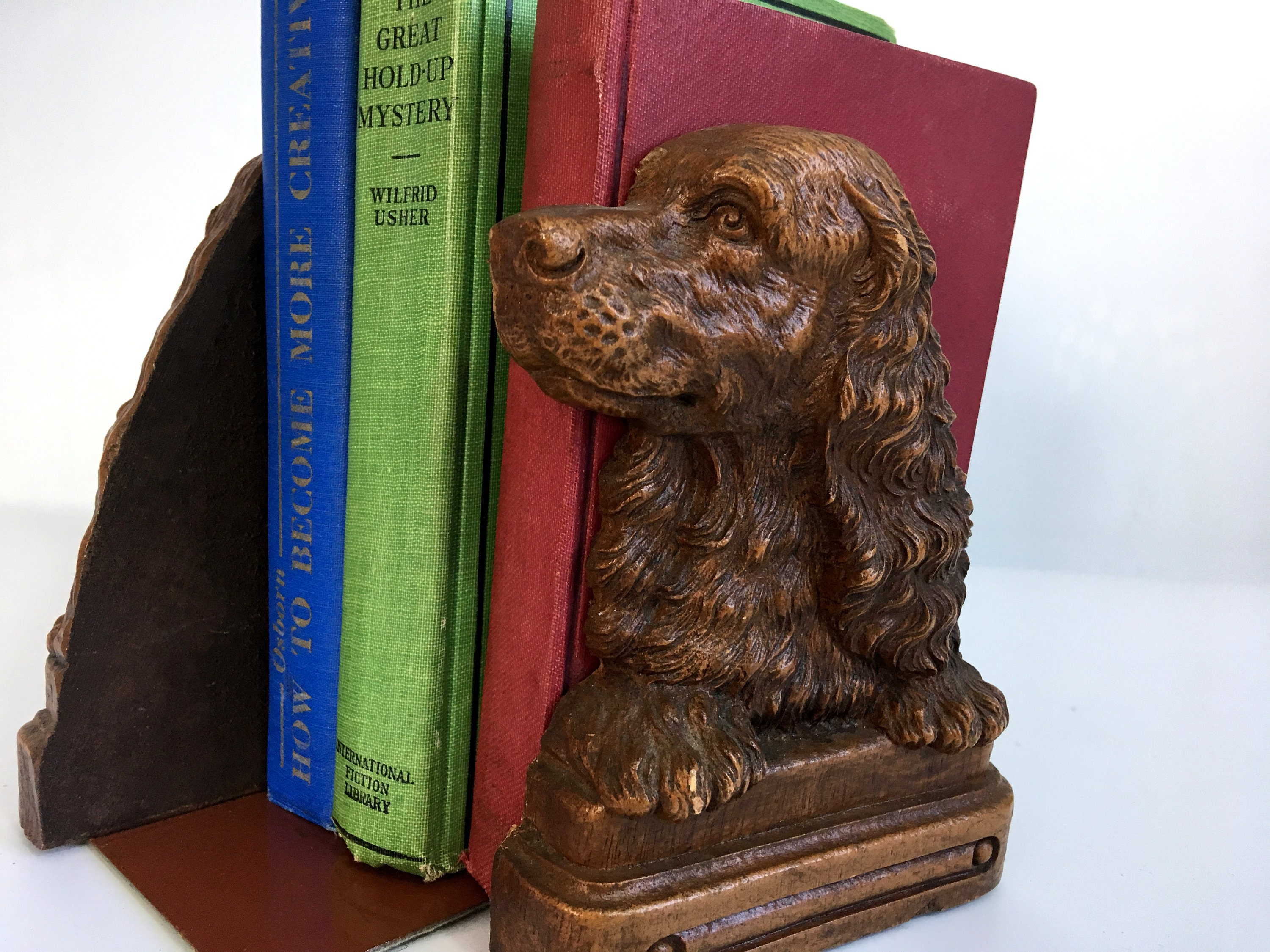 2 Vintage Syroco Dog Motif Bookends - Pair of Vintage