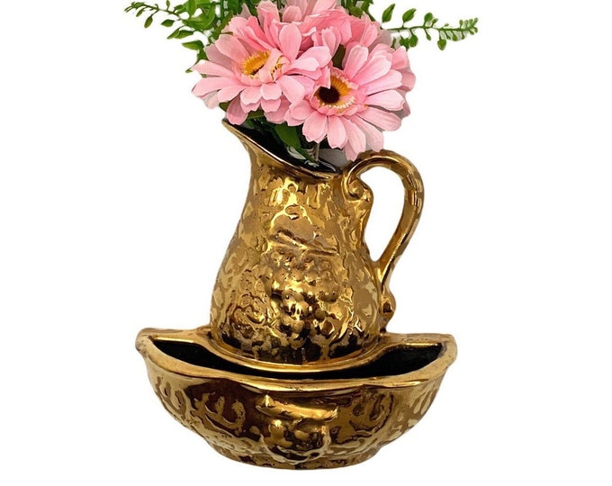 Vintage Pitcher & Basin - Weeping 24K Gold Ceramic Small Faux Water Canister W/ Bowl - MCM - Pocket Vase Lavabo Wall Decor