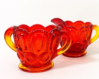 Vintage Amberina Red Glass Sugar & Creamer Moon and Stars - Open Sugar, Ornate Handles - Retro Kitchen Serving or Display