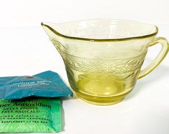 Vintage Light Amber Creamer - Yellow Depression Glass w/ Round Base - Retro Kitchen Serving Ca 1940s