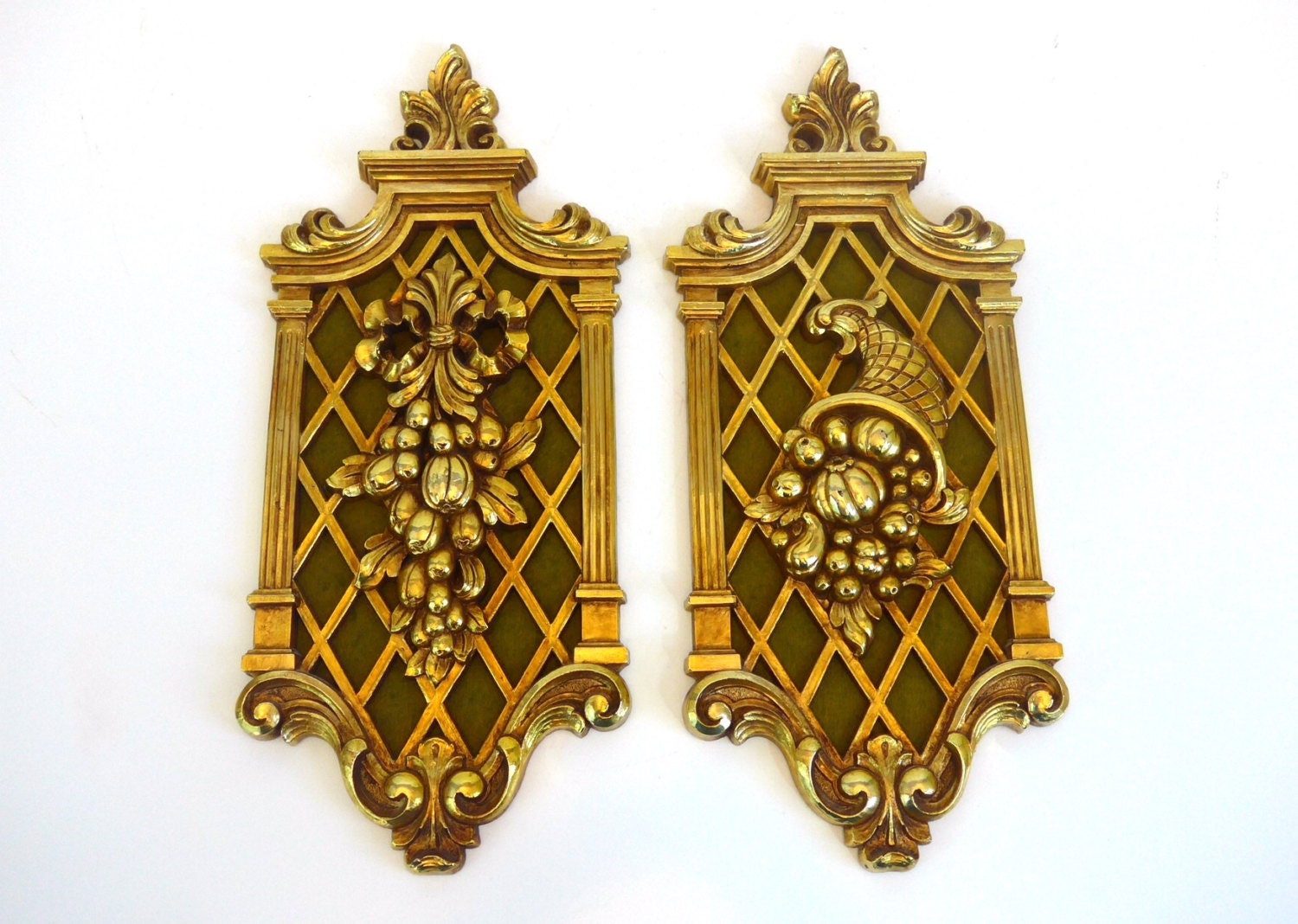 Pair Vintage Gold Ornate Wall Hangings - Mid Century Wall Decor ...