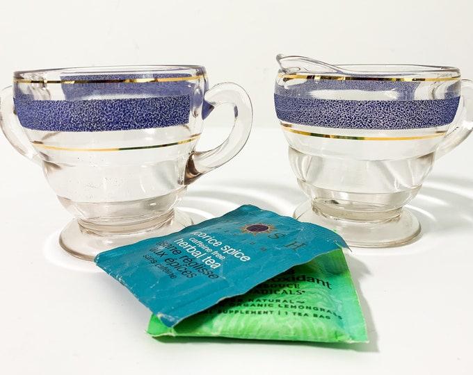 Vintage Kent Glass Purple Banded Sugar & Creamer - Depression Set - Open Sugar Clear Glass - Retro Kitchen Serving or Display Retro Kitchen