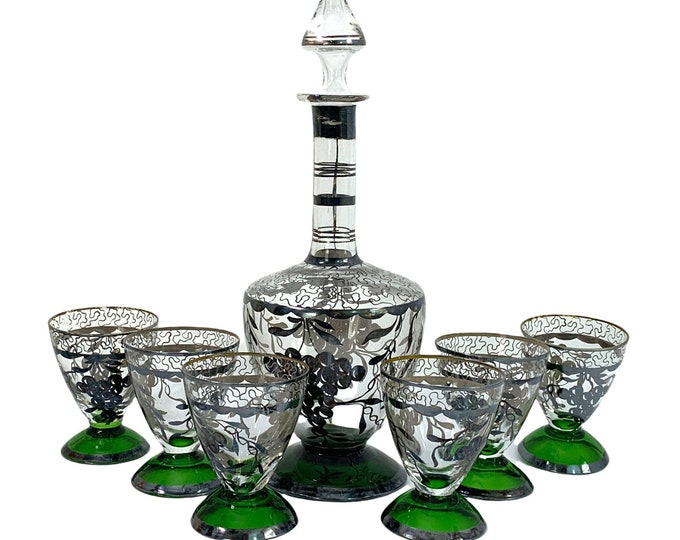 Vintage Decanter & Glasses 6 pc Set 6 Emerald Green w/ Ornate Silver Band Trim Wine / Cocktail Glasses - Green Base