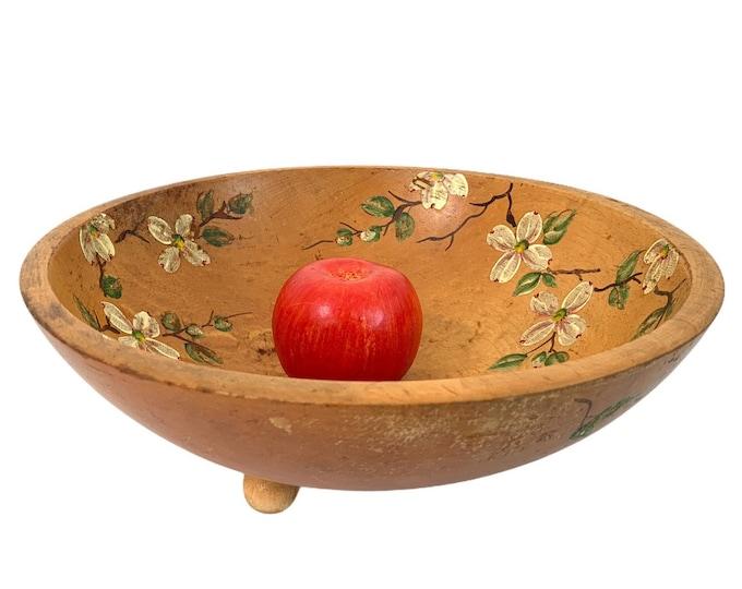 Vintage LARGE Wooden Bowl Handpainted Flowers - Primitive Centerpiece Country Farm Shabby Chic Decor - Wood Fruit or Vegetable Bowl