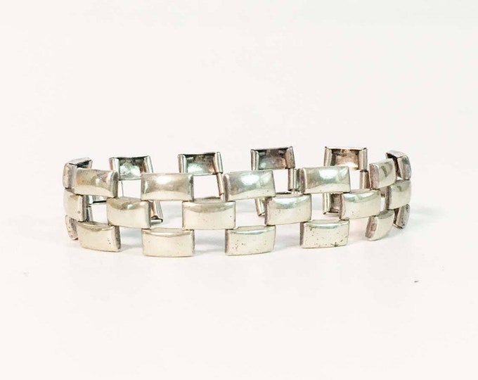 Vintage Sterling Bracelet - Silver Art Deco Design Gate Link Panel Jewelry - 1930s Flexible Box Panel Geometric Modern Statement Jewelry