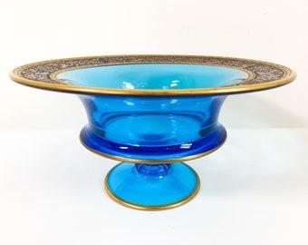 Vintage Blue Fostoria Pedestal Bowl w/ Gold Accent Trim - Rare Retro Home Decor Unique Large Glass Centerpiece / Serving Collectible
