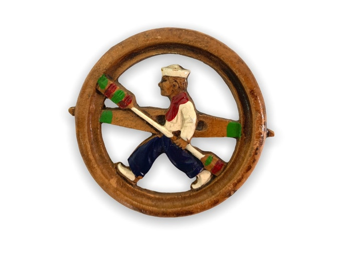 Vintage Sailor With Paddle Boat or Kayak Brooch & Oars - WW II Era Retro Navy Pin Round - Kitsch Naval Jewelry Ca 1940s