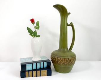 Mid century Haeger Pottery Pitcher - Avocado Green & Gold Large Home Decor Vase w/ Grecian Motif Long Handle Mod Vintage