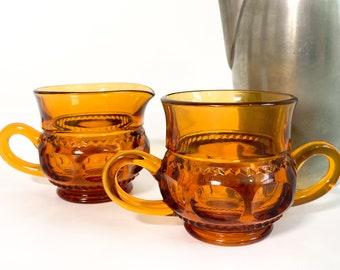 Vintage Amber Sugar & Creamer Set - Glass Kings Crown Tiffan Fransciscan - Sturdy Vintage Retro Kitchen Serving