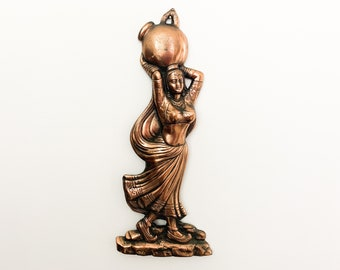 Vintage Copper Mid Century Wall Decor - Copper Colored Woman w/ Water Jug - Retro Large Wall Art