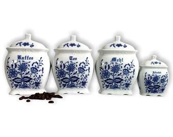 Antique 4 Pc German Canister Set Meihl Tee Kaffee Allerlei - Blue Onion Vintage Ceramic Kitchen Storage Country Farmhouse Shabby Chic