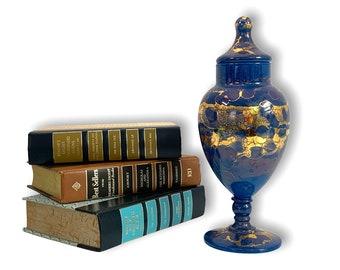 Vintage Glass Jar Cobalt Blue w/ Gold Splatter Accent Trim - Lidded Pedestal Candy Apothecary - Retro Home Decor
