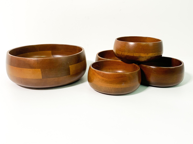 Vintage Hellerware 5 Pc Wood Salad Bowl Set Mid Century Two Tone Wooden Round Serving Bowls Set Five
