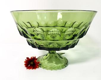 Vintage Green Pedestal Bowl w/ Thumbprint Impressions - Retro Fruit Bowl Home Decor Avocado Green