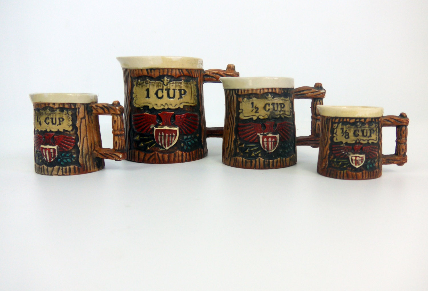 Vintage Napco Measuring Cup Set USA Americana 4 Piece w ...