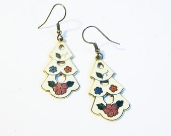 Floral Tiered Cloisonne Earrings - Dangle Drop Multi Color Enamel Jewelry Pink / White Cream with Flowers / Flower Design Roses Vintage
