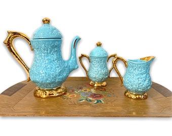 Vintage Coffee Pot Sugar & Creamer Set - Aqua Blue w/ Gold Trim Embossed Floral Surface - Mid Century Ceramic Kitchen Serving Display