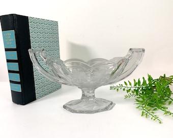 Vintage Small Art Deco Etched Glass Trophy Cup - Depression Glass Bowl w/ 2 Handles Antique Retro Home Decor