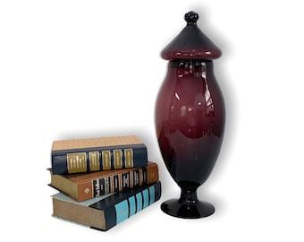 "Large Mid century Jar w/ Lid Amethyst Art Glass - Vintage MCM Home Decor Retro - 12"" Tall Purple Hand Blown Art Glass Apothecary Display"