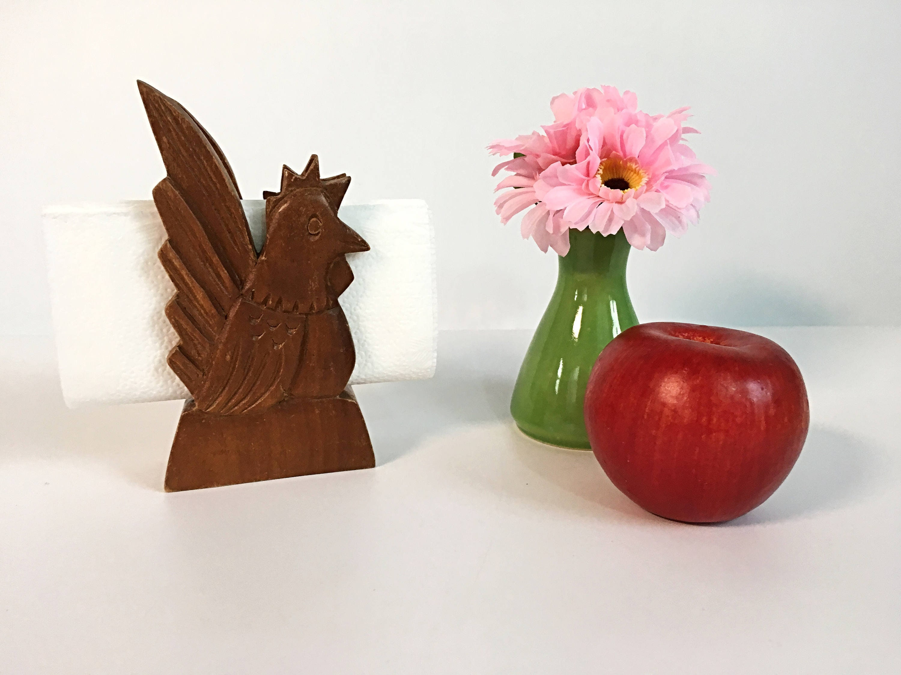 Vintage Wood Napkin Holder Rooster Chicken Country Farmhouse Decor Cottage Chic Retro Kitchen