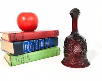 Vintage Ruby Red Glass Dinner Bell 1876 Cape Cod Avon Collection - Retro Cranberry Pressed Glass Collectible
