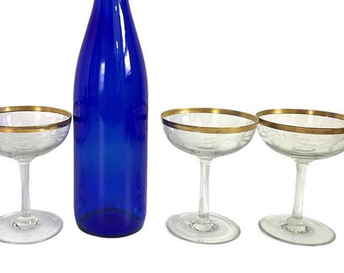 3 Vintage Gold Rimmed Champagne Coupes  Glasses w/ Garland and Bow Embossed on Bowls - Three Retro Glassware Barware Stemware