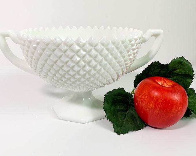 Vintage Westmoreland White Milk Glass English Hobnail Bowl - Hexagon Base w/ Two Handles Compote Home Decor Serving