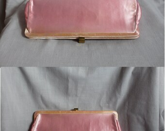 1960s  satin pink clutch