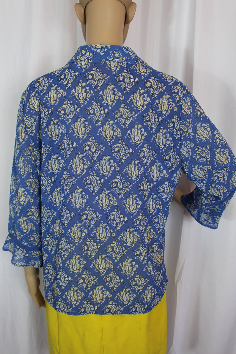 Liz claiborne blue and yellow blouse
