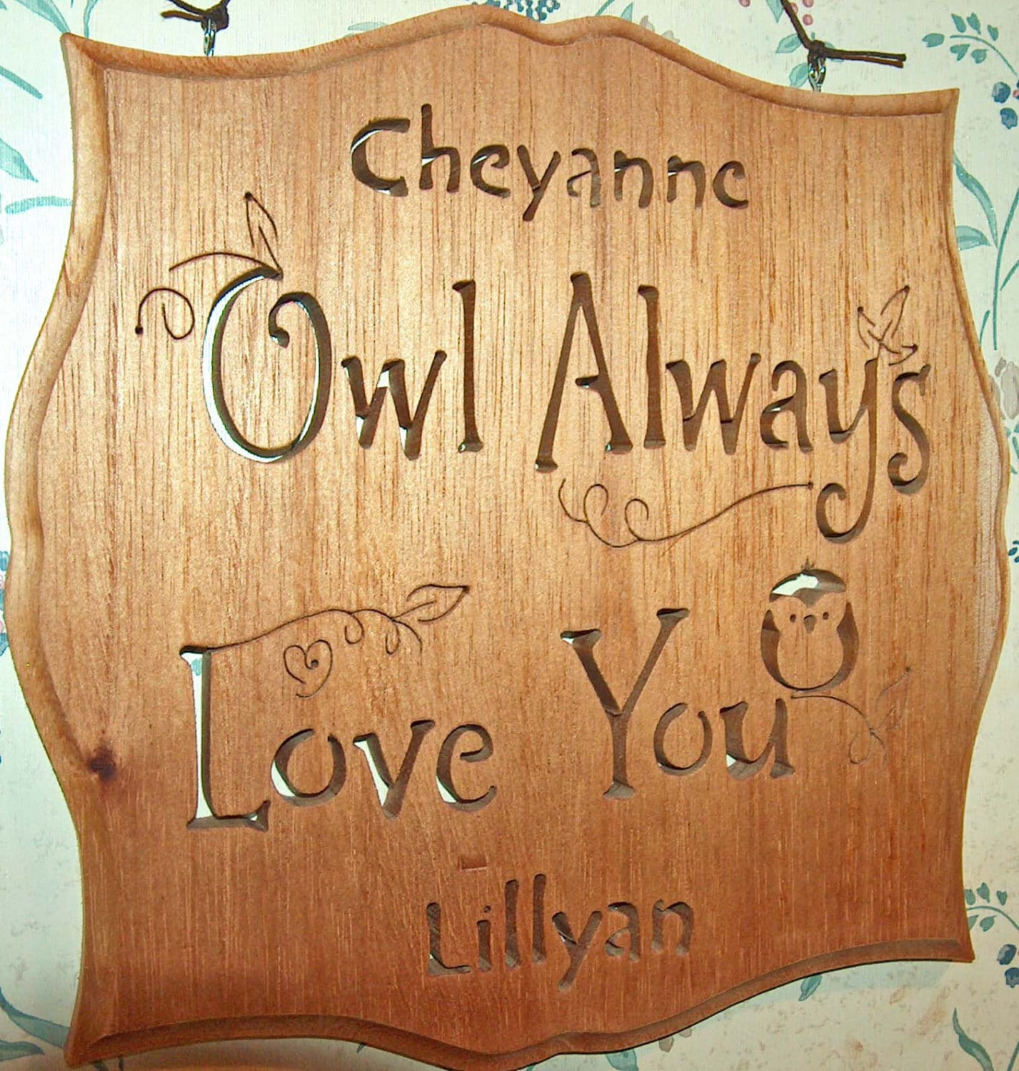 Personalized Owl Always Love You Plaque Personalized Gift