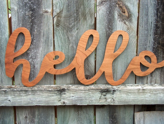 Art Letters Vosarea Hello Wall Sign DIY Block Words Wooden Welcome Sign Plaques
