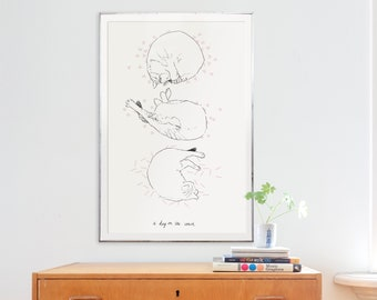 Sleeping Cats A1 poster Instant Download
