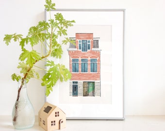 Custom House Portrait, Digital Crayon Drawing from Photo, Made to Order, DIGITAL FILE