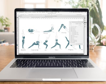 10 Hand drawn Yoga Poses for Promotional Use Digital PNG + PSD files Instant Download Clip Art Pose