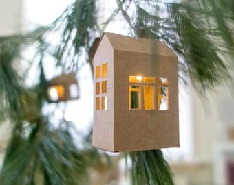 Digital Template String Light Houses Christmas Deco