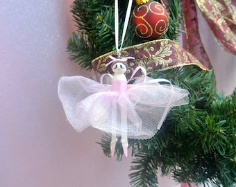 Pink Ballerina Clothespin-Doll Hanging Christmas Ornament