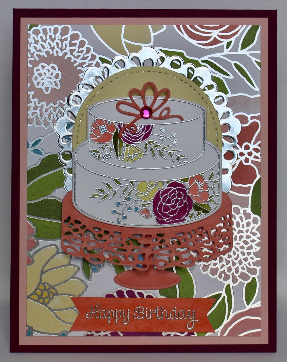 Raspberry And Coral Floral Cake Birthday Card