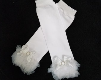 Matching/Coordinating leg warmers/leggings/baby legs in white/ customized to your choices