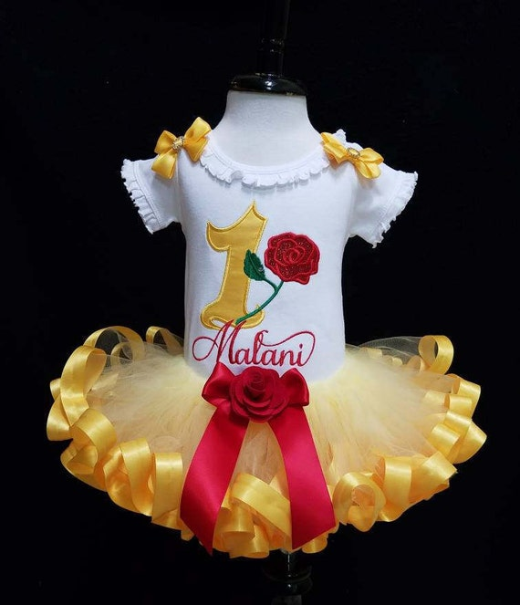 588bd5117 Belle birthday tutu outfit Beauty and the Beast birthday shirt | Etsy