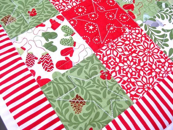 Zuurstok Rood Wit Groen Kerst Tafelloper Handgemaakt Quilt Etsy