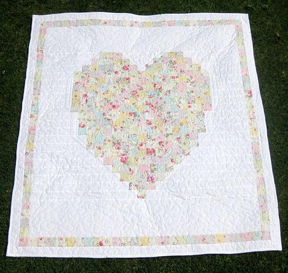 Cobijas con corazón a flores tejido de sello manta de cuna. | Etsy
