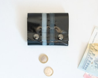 practical mini purse made of truck tarpaulin with snaps