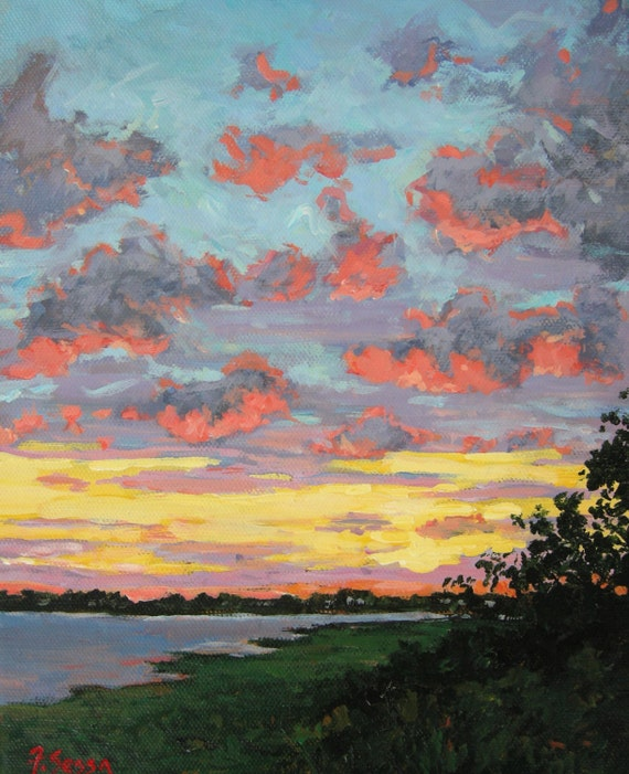 sunset original oil painting red pink clouds yellow purple etsy etsy