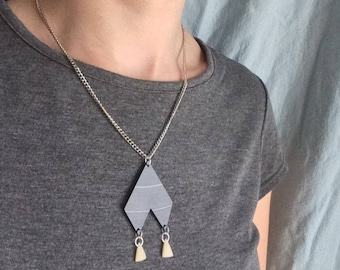 Bone and Vinyl Retro Geometric Statement Necklace Handmade
