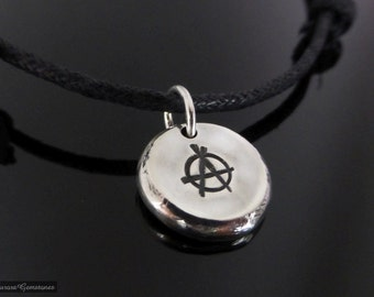 Sterling Silver Pebble Anarchy Necklace Choker, anarchy pendant, anarchy choker, anarchy necklace, adjustable choker, symbol necklace