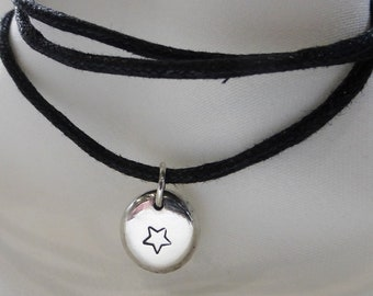 Sterling Silver Star Necklace Choker, Star pendant, Star choker, Star necklace, adjustable necklace, adjustable choker