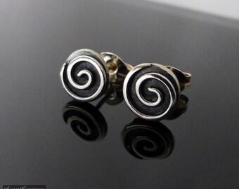 Sterling Silver Spiral Stud Earrings, sterling studs, sterling silver stud earrings, spiral earrings, spiral studs, spiral wire studs