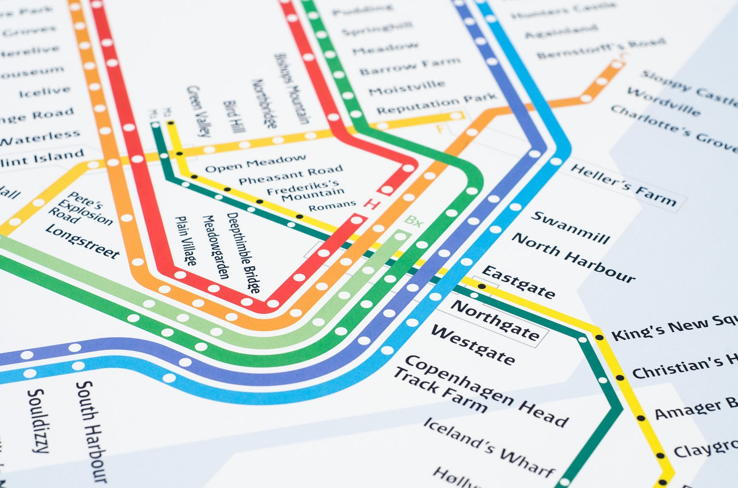 Copenhagen S Train Metro Map Literal English Translation Etsy